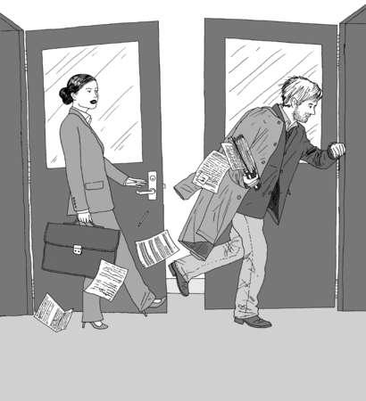 Businesswoman following sloppy businessman through doorways
