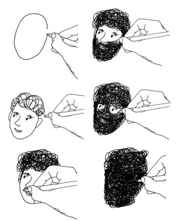 Hand drawing face covered in hair