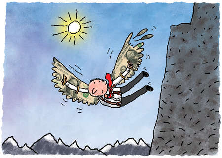 Businessman with dollar bill wings falling from cliff