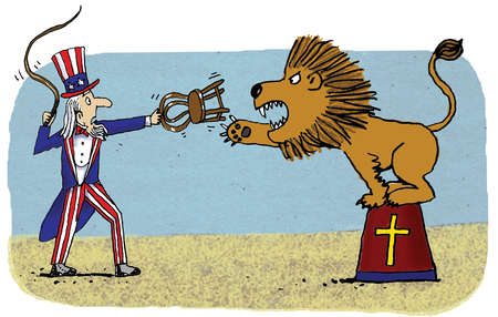 Worried Uncle Sam attempting to tame lion on podium with cross