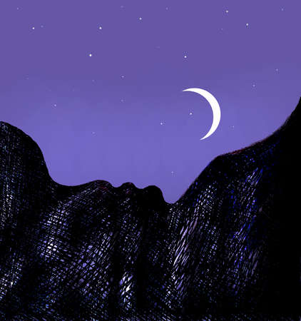 Crescent moon over mountain