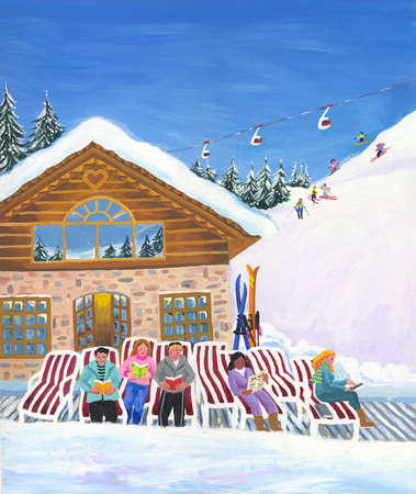 Ski Lodge with skiers reading