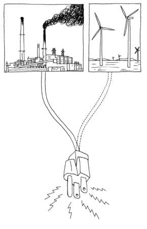 Factory and wind turbine cords connecting into plug