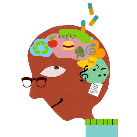 Healthy living symbols and medication inside man's head