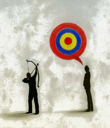 Man with bow and arrow aiming at bull's-eye speech bubble over man