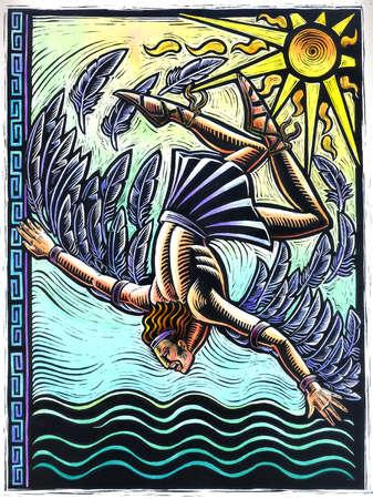 Winged man falling toward ocean