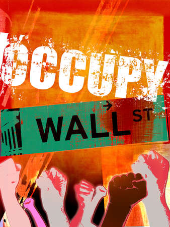 Protesters pumping fists in front of occupy Wall Street graphic