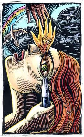 Flame over woman's eye