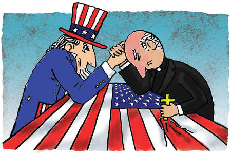 Uncle Sam and priest arm wrestling over American flag