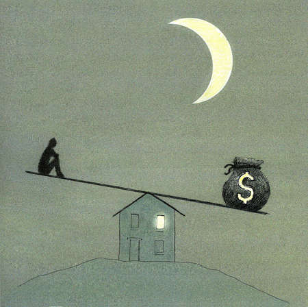 Man and money bag balancing on seesaw supported by house