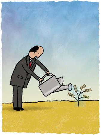 Businessman watering small money tree