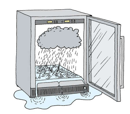 Rain from cloud causing flooding inside refrigerator