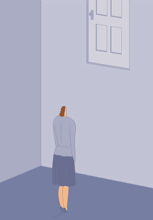 Woman looking up at door high on wall