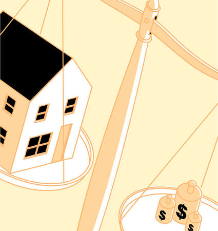 House and dollar sign weights on opposite sides of scale