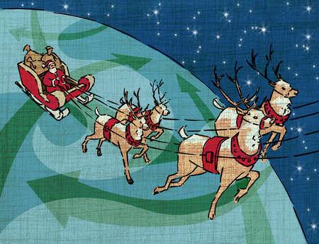 Reindeer pulling Santa in sleigh over globe with arrows