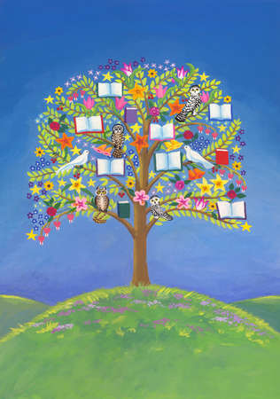 Books, owls and flowers growing on tree