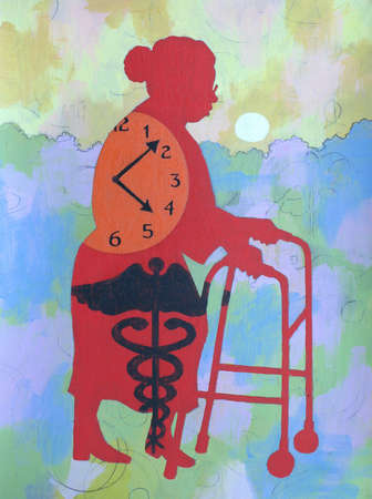 Clock and caduceus over senior woman with walker