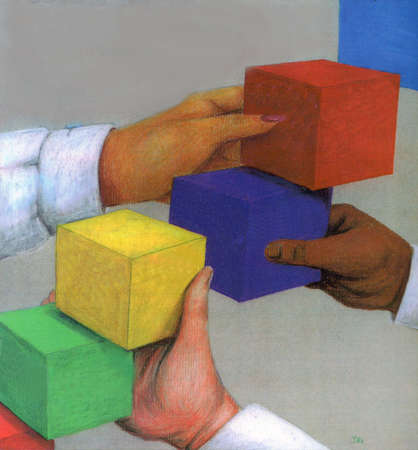 Hands forming steps with colored building blocks