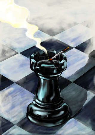 Rook used as an ash tray a chess board