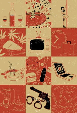 Collage of objects people addicted with