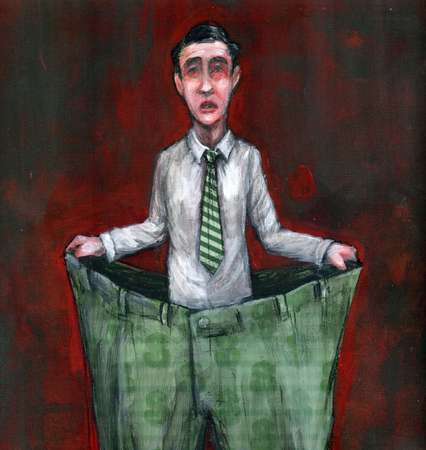 inflation - business man wearing an oversized pant