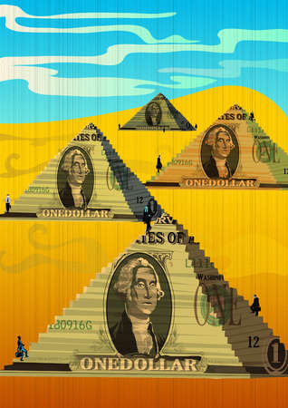 Businessmen climbing on steps of money pyramid