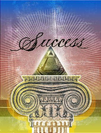 Typographic treatment of the word Success with dollar icon, Gothic column, burst and sky.