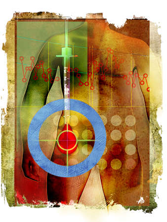 Male figure with blue circle around syringe, blood icon with medical chart and rough edges.