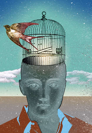Young man with bird flying from open cage coming out of his head.