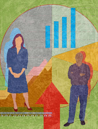 Man and woman standing in front of financial information.