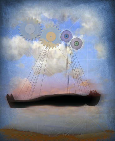 Sleeping person floating in sky with lines attaching them to gears.
