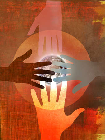 Hands representing different ethnicities in a circle on top of planet earth with red textural painted background.