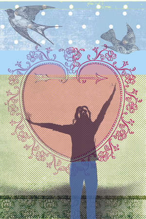Young woman with out strengthen arms inside antique Valentines' Day heart with birds, dot pattern and textual background.