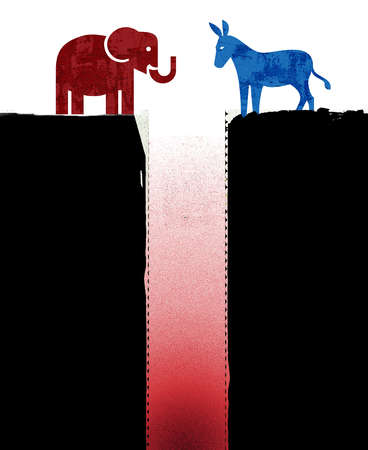 Blue Democratic donkey icon and Red Republican elephant icon facing each other on the edges of a black cliff with fire below.