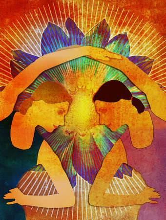 Two interlocking female figures in a yoga pose with flower and white burst on bright red painted textual background