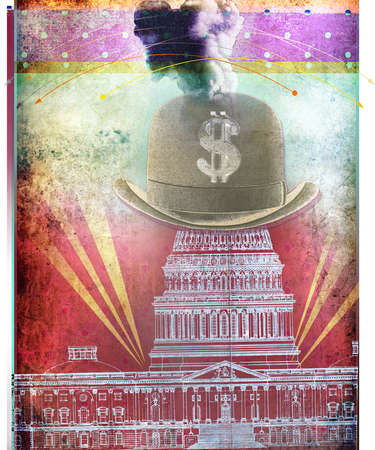 Engraving of Hat with dollar sign over USA Capital building with smoke and spot light shinning through red painted background with dot pattern.