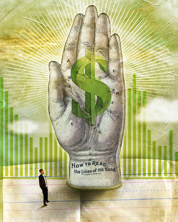 Old engraving of hand with 3-D dollar sign, bar charts and business man on lined school paper on textural painted background with white burst.