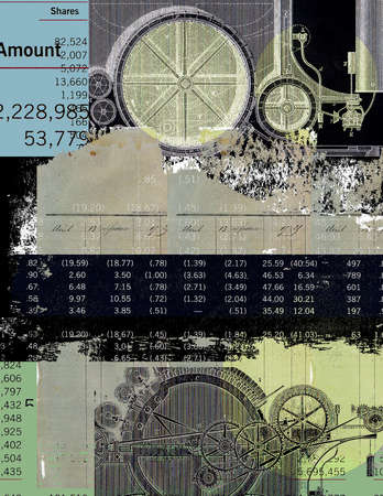 Financial data and old engravings of gears on a blue, black and green textural painted background
