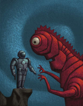 Spaceman facing off with a giant alien creature