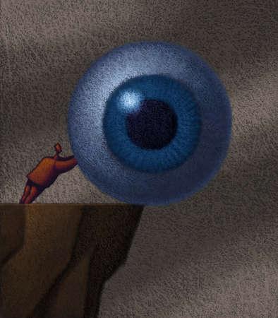 Little man pushing giant eyeball over cliff