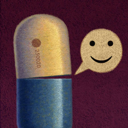 Drug capsule speaking a word bubble smiley face