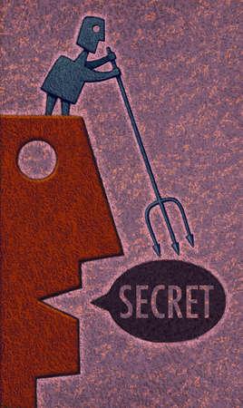 Profile of a face speaking a secret, man with fork retrieving secret