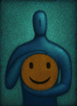 Figure holding a smiley face near heart