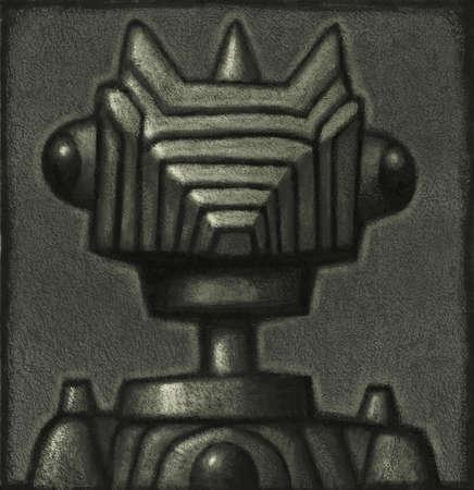 Silvery robot head