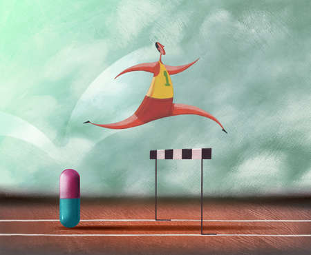 Runner leaping over pill and hurdle