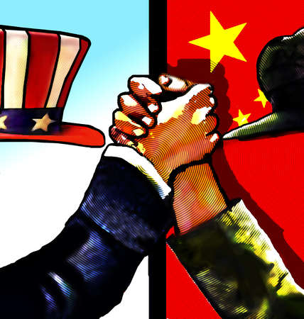 Uncle Sam and Chinese authority gripping hands