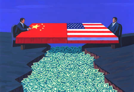Chinese and American Flag,two men across form each other,money in the chasm