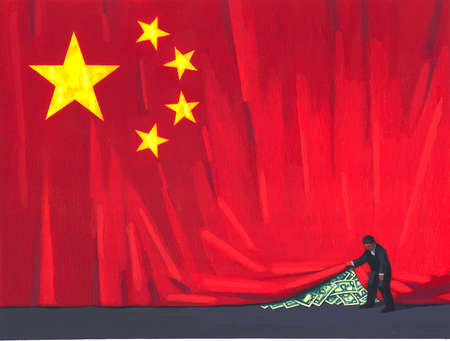 Man lifting Flag of China to Reveal American Currency