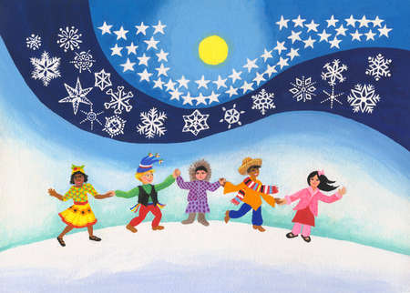 Diverse children holding hands in snow