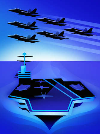 Fighter jets flying in formation above aircraft carrier